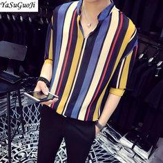 00a21ca490ad New 2018 summer fashion contrast color vertical stripe v-neck half-sleeve  shirt men