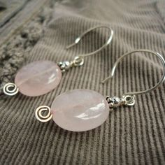 Rose Quartz Earrings in Sterling Silver, Pink Gemstone, Handmade Jewelry by bernadine