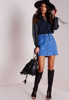 Missguided - Ladder Detail Dip Hem Blouse Navy