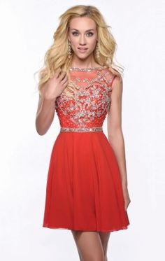 Beaded Chiffon Mini Dress by Envious Couture Prom 15312