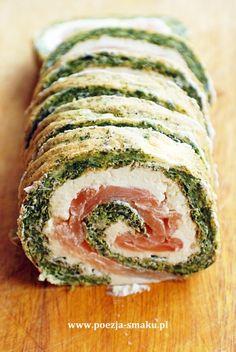 Roladki szpinakowe z łososiem (Spinach Rolls with Salmon - recipe in Polish)