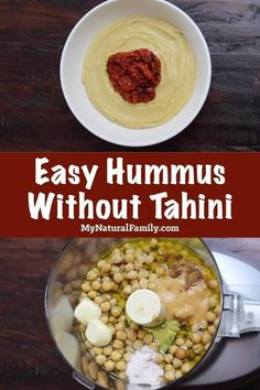 This easy hummus recipe without tahini only takes a few minutes to make and is full of flavor from the garlic and roasted red pepper sauce on top. It is so filling and healthy. I make it all the time as part of a healthy snack or healthy lunch. Clean Eating Hummus, Clean Eating Snacks, Clean Eating Recipes, Easy Healthy Recipes, Healthy Snacks, Eating Vegan, Easy Hummus Recipe Without Tahini, Tahini Recipe, Hummus