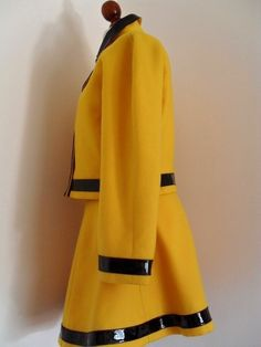 COURREGES Wool and Vinyl Iconic Yellow Jacket & Skirt Suit