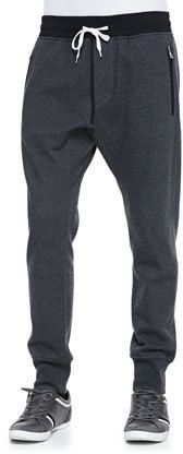 Vince Drawstring French Terry Pants, Black on shopstyle.com