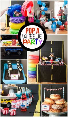 Race Cars Party: This pop-a-wheelie party is one of the cutest boy birthday party themes I've seen, love the combination of things that go party with things that pop! Transportation Birthday, Race Car Birthday, Race Car Party, 2nd Birthday, Nascar Party, Digger Birthday, Race Cars, Happy Birthday, Combined Birthday Parties