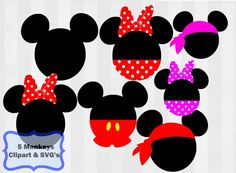 A Disney svg bundle with mickey heads and minnie heads. Pirate Mickey svg cutting file included