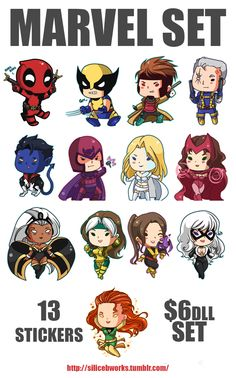 Marvel Set! 13 stickers for 6dlls plus shipping.Also por sale:AVENGERS ...