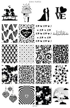 Dixie Plate DP07 - Romantic, Heart, Floral, Unicorn Designs Stamping Plate for Nail Stamping and Nail Art