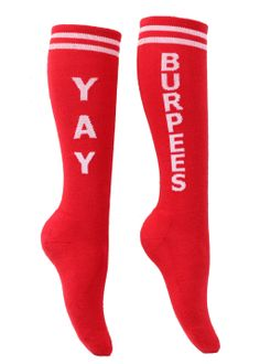 These socks are a must have!!! :) Yay Burpees in The Sox Box... Maybe I will buy these after my first cross fit class :)