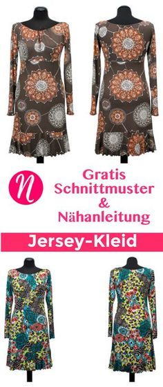 Kostenloses Schnittmuster für Jersey-Kleid mit Volants zum selber nähen. PDF-Schnittmuster Gr. 36-52 ✂ Nähtalente.de - Magazin für kostenlose Schnittmuster ✂ Free sewing pattern for a woman jersey dress in size 36 - 52.