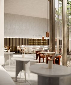 Avenue Restaurant on Behance Cafe Interior Design, Interior Architecture, Cafe Restaurant, Restaurant Design, Concrete Bar, Hotel Lobby Design, Outside Furniture, Co Working, Hospitality Design