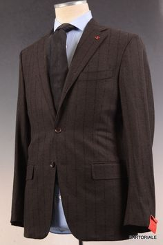 "ISAIA NAPOLI ""Base S"" Brown Striped ""Tridimensional"" Wool Suit 48 NEW US 36 38"