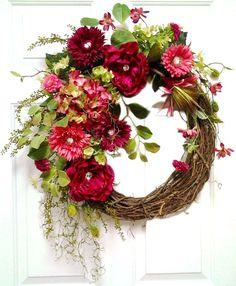 Sparkling Jewel Wreath, Pink Silk Floral Wreath, Grapevine Wreath, Front Door Wreath, Handmade Wreath, Wreath on Etsy, by Adorabella Wreaths!