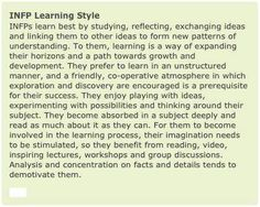 INFP Learning Style INFPs learn best by studying, reflecting, exchanging ideas and linking them to other ideas to form new patterns of understanding. Personality Psychology, Myers Briggs Personality Types, Mbti Personality, Psychology Quotes, Infj Infp, Intp, Introvert, Behind Blue Eyes, Found Out