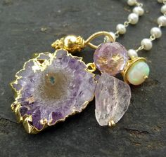 Amethyst stalactite and opal charm necklace by seafairiesjewelbox, $188.00