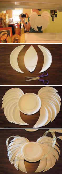 Easy Last Minute Angel Wings Made From Paper Plates.
