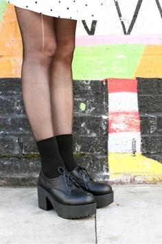 Chunky Heel Brogues Black