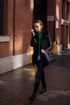On the Street….. After Louise Goldin, New York via The Sartorialist -- hunter or kelly green+red hair