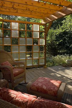 Custom Cedar Arbor with Glass Block Trellis by WestoverLandscapeDesign, via Flickr