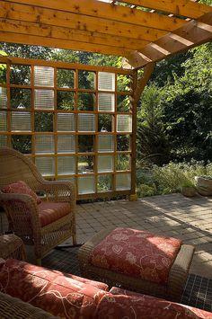 Custom Cedar Arbor with Glass Block Trellis by WestoverLandscapeDesign, via Flickr