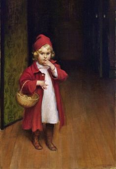Charles Courtney Curran (American, 1861-1942) «Playing Red Riding Hood» 1907
