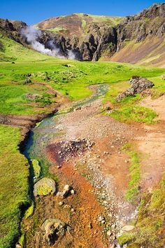 Iceland Art Print: Reykjadalur / Hengill is a wonderful hiking area in South Iceland. You can walk through a geothermal area with steaming hot springs while enjoying the amazing nature. Wonderful orange, green and brown colors. Click through and get inspired!