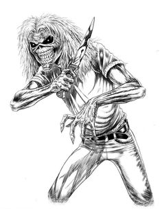 Stabby Eddie - Done In Brush and Ink. Heavy Metal Bands, Heavy Metal Art, Evil Tattoos, Scary Tattoos, Bugs Bunny Drawing, Iron Maiden Mascot, Hard Rock, Iron Maiden Posters, Eddie The Head