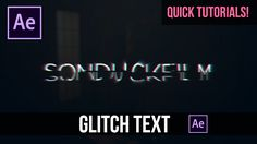 Quick Tutorials: Fast Glitch Text Animation in After Effects - Tutorial - YouTube