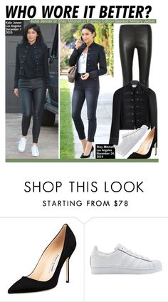 """Who Wore It Better?Kylie Jenner or Shay Mitchell in Express Edition Beaded Military Jacket"" by kusja ❤ liked on Polyvore featuring Balenciaga, Manolo Blahnik, adidas Originals, women's clothing, women's fashion, women, female, woman, misses and juniors"
