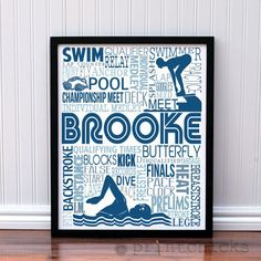 New Design! So great for a team. Group discounts available. www.printchicks.net Competitive Swim Poster - Personalized Girls Swim Decor - Swim Team Prints - Sport Typography Print - Girls Swim Decor - Swimmer Decor – PrintChicks