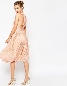 ASOS Self Stripe Prom With Lace Back