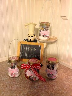 Manicure in a Jar! Made these for Valentines day.   (Filled with nail polish, nail file, nail mani cut set, chocolate and cotton balls)