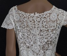 Edwardian Clothing at Vintage Textile: #c426 Brussels handmade mixed lace wedding dress