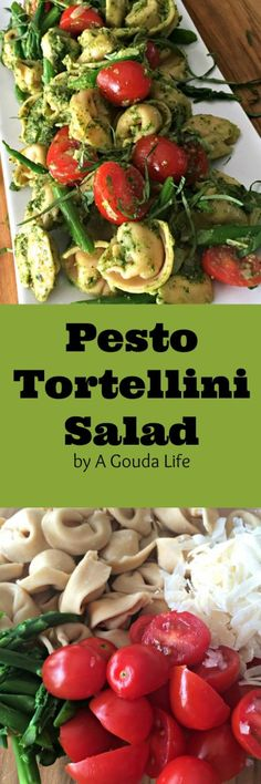 Easy and SO delicious Pesto Tortellini Salad made with whole wheat 3-cheese tortellini, veggies, pesto and NO mayo. 16 grams of protein keep you filled.