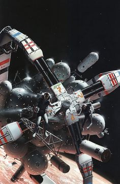 Peter George Elson, retro futurism. Really captures the vastness of space, and the vulnerability of the detached astronauts.