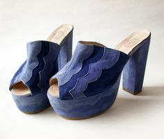 Lovely 1970s Blue Suede platforms with by MistyMountainVintage, £35.00