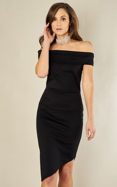 6a18c3009f6 Black Scuba Off The Shoulder Asymmetric Hem Dress