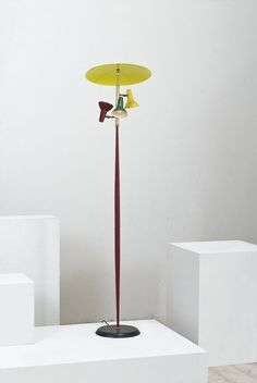 Anonymous; Enameled Metal and Brass Floor Lamp, 1950s.