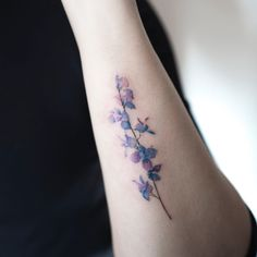 Unique ➿ Wrist Tattoos Forearm Tattoos for Women with Meaning - Page 3 of 80 - Diaror Diary - Tattoo Flower Tattoo Foot, Flower Tattoo Designs, Foot Tattoos, Forearm Tattoos, Cute Tattoos, Tatoos, Dainty Tattoos, Small Tattoos, Larkspur Flower Tattoos