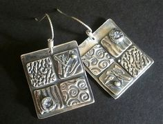 PMC Earrings  Fine Silver Patchwork Squares  by Silvermaven, $36.00