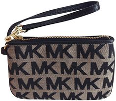 6b7701f55fb4 Michael Kors Jet Set Wristlet in Black/Beige Authentic Michael Kors zip-top  wristlet. Features MK jacquard logo exterior, leather trim and brass  hardware.