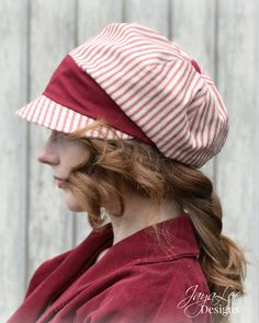 Red Striped Slouchy Visor Beanie Newsboy by GreenTrunkDesigns