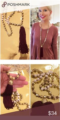 Gorgeous long gold/burgundy/ivory tassel necklace! Velvety long tassel with an etched brushed gold tone drop and hammered beads Jewelry Necklaces
