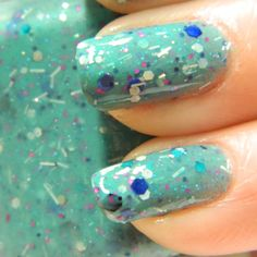 Proud Peacock Nail Polish Teal Confetti Glitter Nail by KBShimmer, $7.50