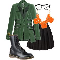 green, orange, and black outfit.  LOVE the jacket!!!