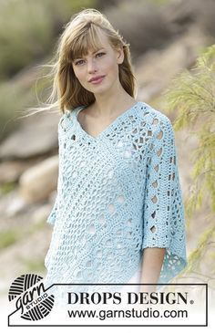 168-13 Sky Love - free crochet poncho pattern with charts from DROPS Design. Sizes:  S/M – M/L – L/XL – XXL/XXXL. Aran weight. | crochet | Pinterest | Free Cro…