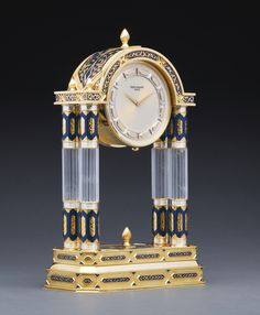 """Patek Philippe """"Rock Crystal and Enamel Palace Clock"""" Antique Wall Clocks, Wall Clock Wooden, Old Clocks, Patek Philippe, Classic Clocks, Art Ancien, Wall Clock Online, Unique Clocks, Mantel Clocks"""