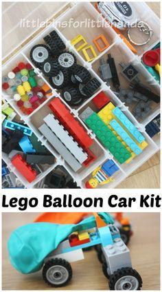 Lego Balloon Car Kit Portable Lego Box Lego Car Building. Fun science and STEM activity for kindergarten and grade school age kids. Build a balloon car.