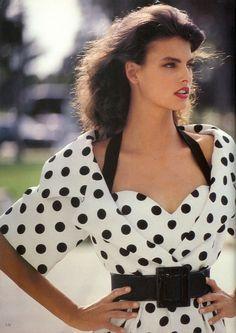 """London Seasoning"", Vogue UK, May 1987Photographer : Arthur ElgortModel : Linda Evangelista"