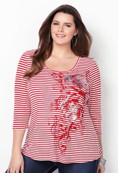 Striped Metallic Screen Print Tee-Plus Size Tee-Avenue
